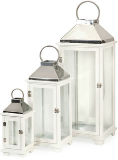 A set of three classic White Martha Wood Lanterns in varying sizes. Wood with stainless steel design accents. Dimensions: x x Material: Fir Wood, Glass, Stainless Iron White Lanterns, Candle Lanterns, Candles, Steel Detail, Lantern Set, Wood Glass, Unique Home Decor, Joss And Main, Accent Pieces