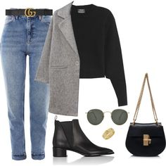 A fashion look from September 2017 featuring wool sweater, fur-lined coats and blue jeans. Browse and shop related looks. Classy Outfits, Trendy Outfits, Cute Outfits, Fashion Outfits, Womens Fashion, Fall Winter Outfits, Autumn Winter Fashion, Look Blazer, Mode Jeans