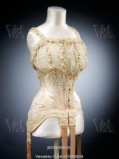 Wedding corset made for the wedding of Marie Dixon. England, 1905