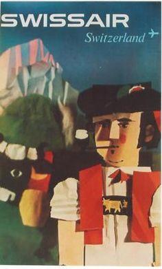vintage poster APPENZELL SWISS FARMER SWISSAIR