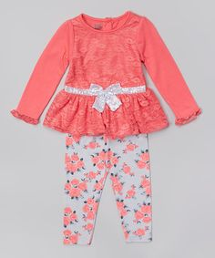 Orange Lace Tunic & Floral Leggings - Toddler & Girls #zulily #zulilyfinds