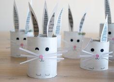 Cute bunnies from empty toilet rolls
