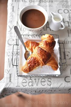 Words and coffee (and milk and croissant).