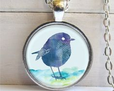 Bird Pendant Bird With Crown Necklace Silver Bird by ShimmerCreek