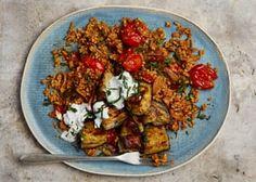 Yotam Ottolenghi's tomato bulgur, aubergine and yoghurt sauce. Lentil Recipes, Healthy Recipes, Side Recipes, Veggie Recipes, Cooking Recipes, Veggie Meals, Savoury Recipes, Savoury Dishes, Ottolenghi Recipes