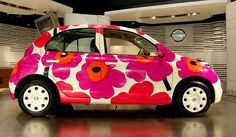 For those of you that really, really, really can't get enough of the Marimekko Unikko pattern. This is the Nissan March (Micra) a supermini car… Nissan March, Hippie Car, Mini Copper, Interior Design Companies, Cute Cars, Car Painting, Marimekko, Weird And Wonderful, Textures Patterns