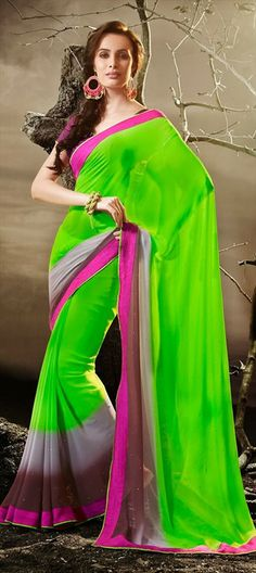 129588, Printed Sarees, Georgette, Printed, Multicolor Color Family