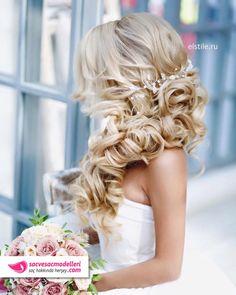 uzun örgülü gelin saçı