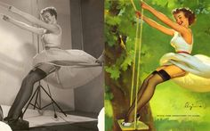 Before images were manipulated with photoshop, America created images of ideal pin-up girl beauties with old fashioned paint and photography. These images reveal the behind-the-scenes techniques applied by famous pin-up girl painter Gil Elvgren. After a photo was taken, he would transform girls into perfect little dolls.