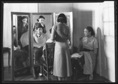 [Students Doing their Hair] :: Textiles, Teachers, and Troops - Greensboro 1880-1945