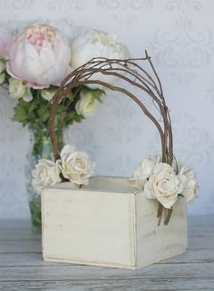 Flower Girl Basket Shabby Chic Wedding Decor by braggingbags
