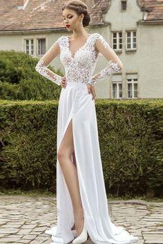 2016 Full Sleeves V Neck Prom Dresses With Applique And Slit Chiffon € 163.93 SAP5BDPSTB - schickeabendkleider.de for mobile