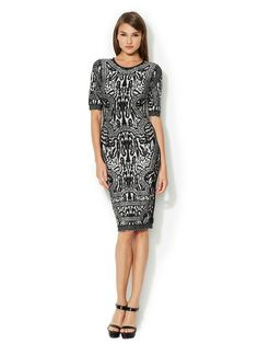 Herve Leger Zola High Neck Animal Print Dress
