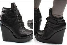 Korean platform wedge booties high heels sneakers shoes lace up Black US 8