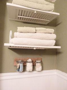 shutters into bathroom shelves