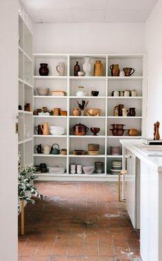 tall white shelves.