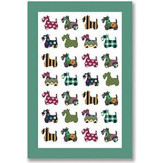 Scottie Patterns Linen Tea Towel