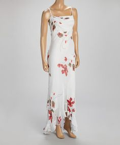 WANT!! LOVE!! LOVE!! LOVE!! WANT!! WANT!! LOVE!! LOVE!! LOVE!! WANT!!  Look what I found on #zulily! White & Red Floral Maxi Dress by Papillon Imports #zulilyfinds