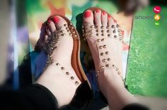 ForeverLink Lidia-22 Gold Studded T-Strap Open Toe Sandal (Black)
