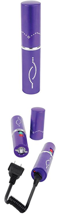 The Purple Lipstick Stun Gun with flashlight is portable and discreet. It packs 3 million volts of charge and is powered by a built-in rechargeable battery. Measuring only 5 inches tall and 1 inch around, this unit can fit into most any purse, pocket, backpack or briefcase.