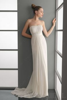 Strapless Sheath Chiffon Wedding Dress with Beaded Lace Appliques