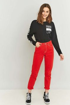 BDG Red Mom Jeans