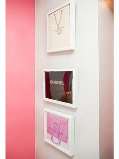 wall art :) DIY :) put your favorite brand bags in frames