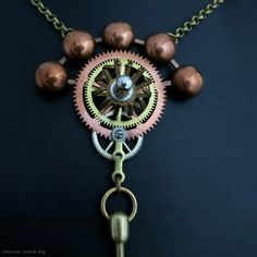 Steampunk necklace Clock gears pendant Industrial jewelry