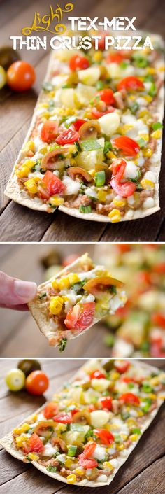 Light Tex Mex Thin Crust Pizza — A light & easy vegetarian recipe for one, that tastes amazing & leaves you feeling satisfied! A Flat Out Thin Crust Flatbread is topped with refried beans, queso fresco & loads of fresh veggies for a quick & healthy meal that! | #Pizza