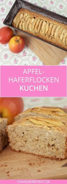 Apfel Haferflocken Kuchen - ein Rezept mit wenig Zucker - Backen - A delicious recipe for an apple oatmeal cake with almost no sugar! A recipe for apple bread, so to speak. It tastes wonderful with strawberry jam. Low Sugar Recipes, No Sugar Foods, Healthy Dessert Recipes, Apple Recipes, Smoothie Recipes, Paleo Dessert, Healthy Foods, Healthy Apple Cake, Smoothie Detox