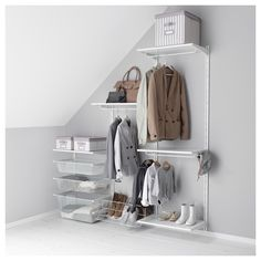 IKEA - ALGOT, Wall upright/shelves/rod - For under stairs style hall closet. If only Jason and I owned only 2 jackets each....LOL