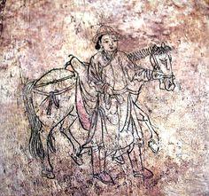 Mural from the tomb of the civil official Bak Ik (1332-1398) in Gobeop-ri, Miryang. Historic Site 459.