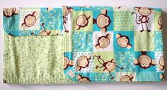 Large Handmade Double Sided Baby Boy/Girl Receiving Blanket Monkey Green Brown - Baby Shower Gift