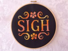 PDF Pattern: Subversive cross stitch Sigh pink by TheCompassNeedle