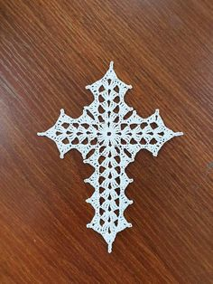 Crochet Cross Ornament The price is for ONE CROCHET CROSS. The Crochet Cross measures approximately by 5 inches Crochet Bookmark Pattern, Crochet Square Patterns, Crochet Bookmarks, Crochet Cross, Thread Crochet, Filet Crochet, Crochet Lace, Crochet Christmas Decorations, Crochet Ornaments