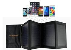 RioRand Solar Panel 16W High Efficiency Solar Panel Foldable and Portable Dualport Solar Charger ** More info could be found at the affiliate link Amazon.com on image.