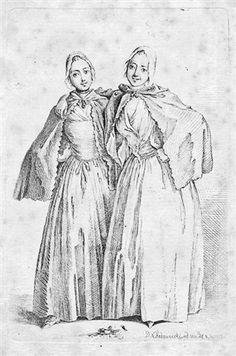 Die beiden stehenden Damen (Demoiselles Quantin) by Daniel Nikolaus Chodowiecki 1758