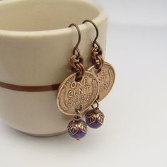 Amethyst coin earrings with wheatie pennies, purple beads, copper by laurelmoonjewelry, $14.00