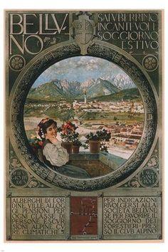 Belluno Italy VINTAGE TRAVEL POSTER1902 24X36 Colorful Historic Singular