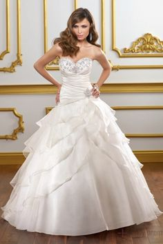 Sweetheart Beaded Ruffles Organza Ball Gown Lace-up Wedding Dress
