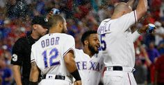 Mike Napoli celebrates his 3-run homer against the Padres in the ninth Thursday, May 11, 2017.Rangers won 5-2. (Rose Baca/The Dallas Morning News)