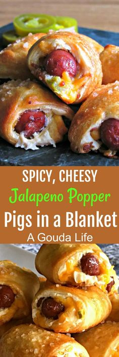 Jalapeno Popper Pigs in a Blanket recipe ~ A Gouda Life- Jalapeno Popper Pigs in a Blanket ~ smoked cocktail sausages wrapped in warm, flaky, golden crest dough, filled with 2 kinds of cheese, spicy jalapenos and crispy bacon. Yummy Appetizers, Appetizers For Party, Appetizer Recipes, Finger Food Appetizers, Parties Food, Jalapeno Poppers, Smoked Cocktails, Sausage Wrap, Cocktail Sausages