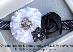 The Black Tie Event Baby Girl Headband - Black & White Polka Dot Flower Infant Headband - Satin and Rhinestone Baby Girl Hair Bow. $7.00, via Etsy.
