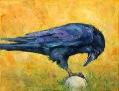 Love the dark violet/yellow green color combo in this raven painting by Deb Kirkeeide. http://dkirkeeide.blogspot.com/2010/02/on-ball-raven-painting.html