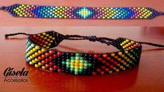 Crochet hose chains - swatch library: retro 8 around - ko . Loom Bracelet Patterns, Bead Loom Bracelets, Bead Loom Patterns, Macrame Bracelets, Beading Patterns, Seed Bead Jewelry, Bead Earrings, Beaded Jewelry, Diy Schmuck