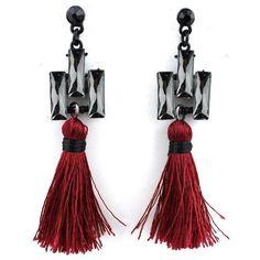 Boho Red Tassel Earrings ($18) ❤ liked on Polyvore featuring jewelry, earrings, bohemian jewellery, bohemian earrings, black onyx earrings, tassel earrings and bohemian jewelry