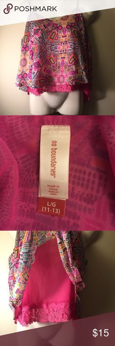 9dd4d3cd88 Layered Sheer Tank Print Tank Top Sheer Layered Tank with adjustable straps  and lace trim Good condition No Boundaries Tops Tank Tops