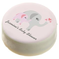 Elephant Baby Shower Pink and White Chocolate Covered Oreo