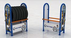 TVS Tyre Display on Behance Rack Design, Display Design, Sidney Sheldon, Shop Shelving, Tire Rack, Tyre Shop, Store Fixtures, Exhibition Stands, Car Wash