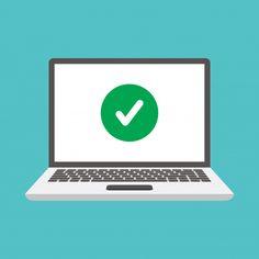 Laptops and check marks Premium Vector Social Networks, Social Media, Renda Extra Online, Sem Internet, Vector Photo, Flat Design, Laptops, Desktop, Check